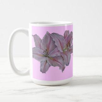 Pink lily flowers realist floral art painting mum basic white mug