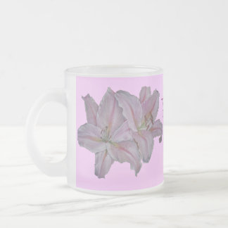 Pink lily flowers realist floral art painting mum frosted glass mug