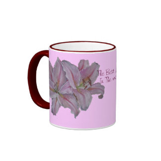 Pink lily flowers realist floral art painting ringer mug