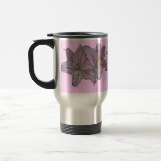 Pink lily flowers realist floral art painting stainless steel travel mug