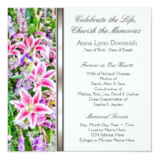 Pink Lily Funeral Announcements