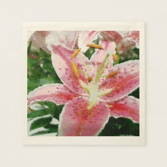 Pink Lily Paper Serviette Disposable Napkin