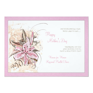 "Pink Lily Pink Border Invitation 5"" X 7"" Invitation Card"