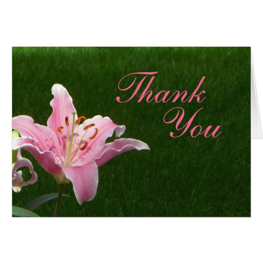 Pink Lily Thank You Card
