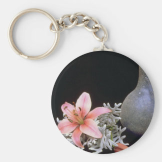 Pink Lily with blue jug flowers Keychain