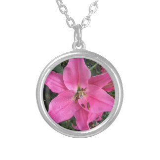 Pink Lily with Raindrops Pendant