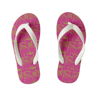 Pink/lime abstract pattern kid's flip flops
