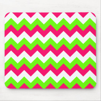 Pink Lime and White Zigzag Mouse Mat