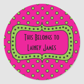 Pink Lime & Black Round Sticker-This Book Belongs