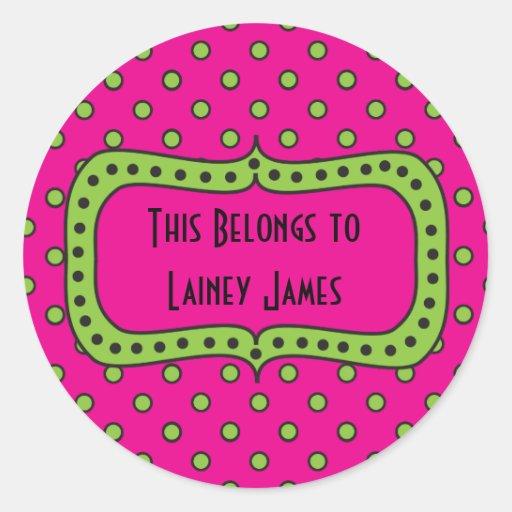 Pink Lime & Black Round Sticker-This Book Belongs