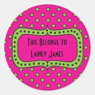 Pink Lime & Black Round Sticker-This Book Belongs Round Sticker