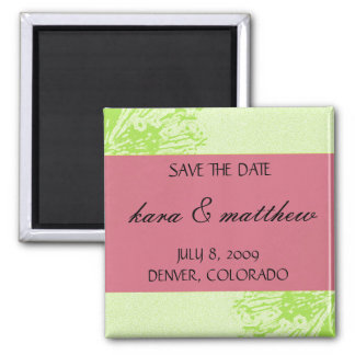 Pink & Lime Blossom Save the Date Fridge Magnet