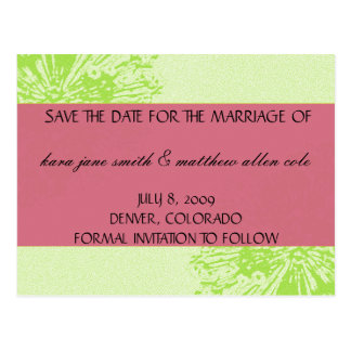 Pink & Lime Blossom Save the Date Postcard