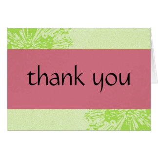 Pink & Lime Blossom Thank You Greeting Card