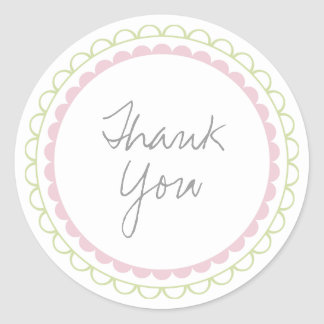 Pink Lime Frills Scalloped Thank You Label Sticker