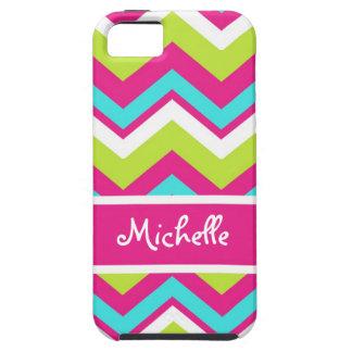 pink, lime green, blue, white chevron tough iPhone 5 case