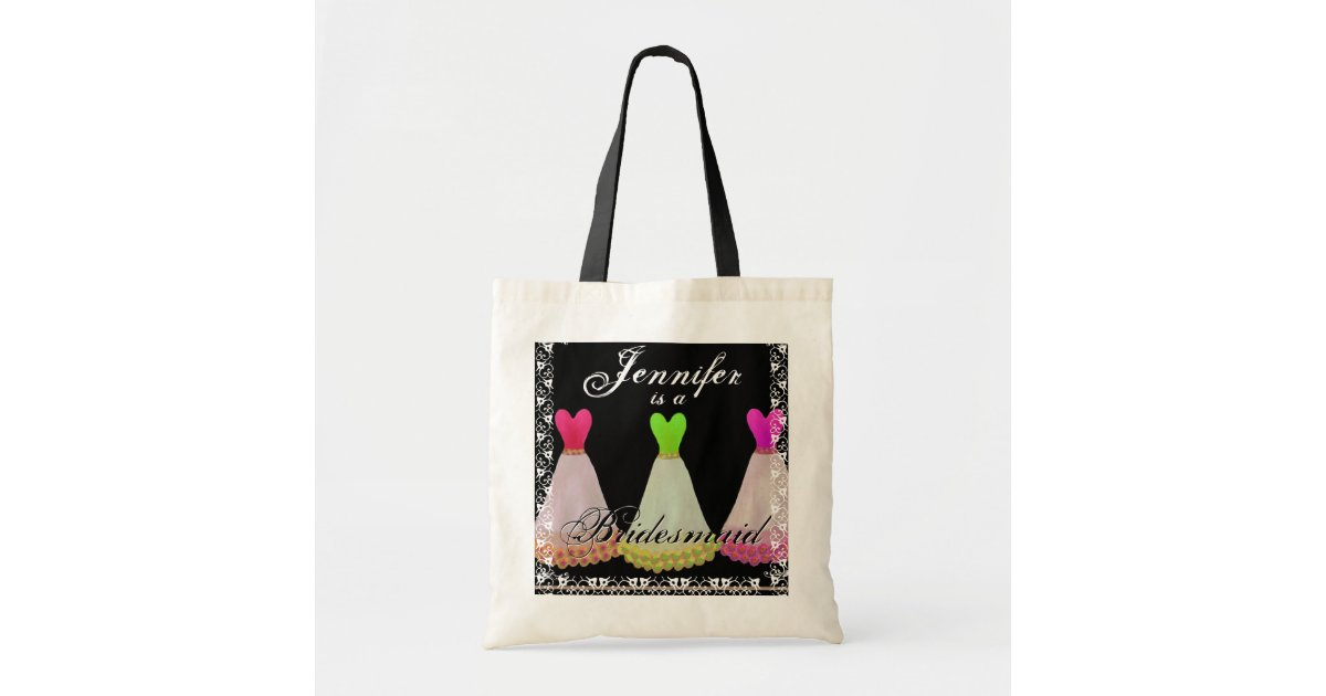 PINK & LIME GREEN Bridesmaid Dresses Tote Bag Zazzle