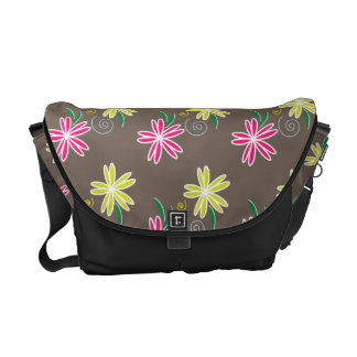 Pink & Lime Green Daisies on Brown Background Messenger Bags
