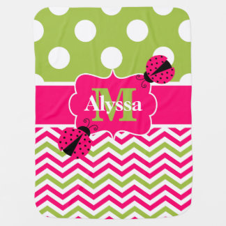 Pink Lime Green Ladybug Dots Chevron Personalized Baby Blanket