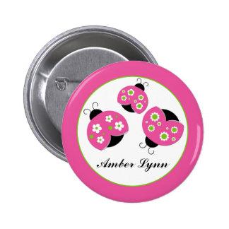 Pink & Lime Green Ladybugs 6 Cm Round Badge