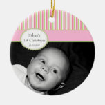 Pink Lime Stripe Baby's 1st Christmas Photo