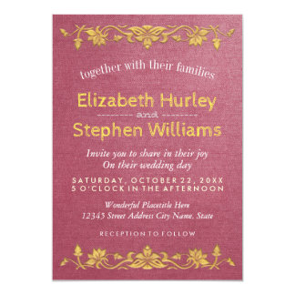 Pink Linen Gold Floral Embroidery Wedding Shower 13 Cm X 18 Cm Invitation Card