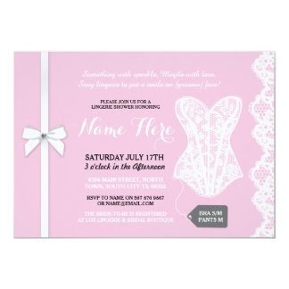 Pink Lingerie Shower Invite White Lace Bridal