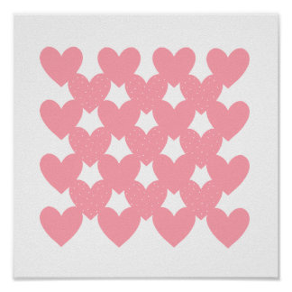Pink Linked Hearts Print