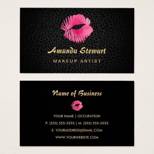 Pink Lip Gloss Kiss Black Cheetah Makeup Artist Business Card
