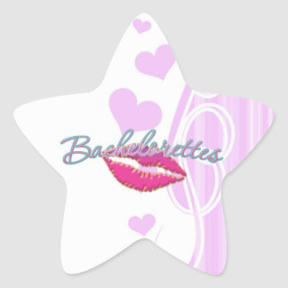 pink lips bachelorettes party bridal bridesmaids star stickers