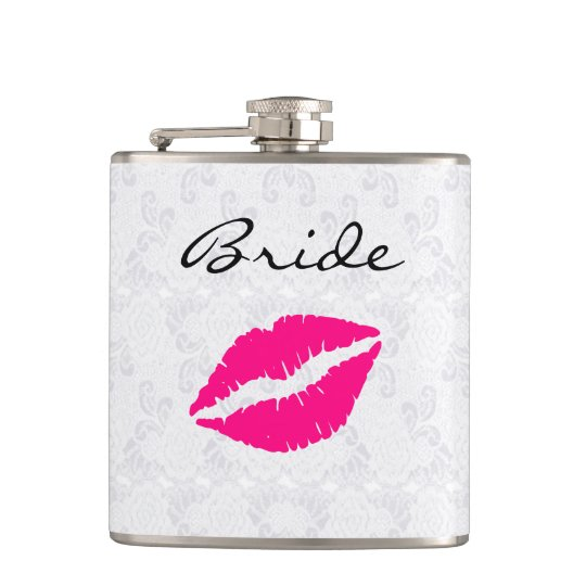 Pink Lips Bride's Drinking Flask