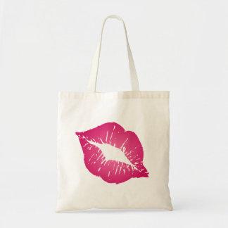 pink lips budget tote bag