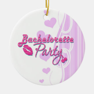 pink lips cherries bachelorette party bridal ornament