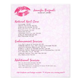 Pink Lips & Damasks Makeup Artist Design Flyer