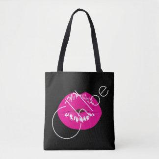 Pink Lips Kiss Black Name Customize Tote Bag
