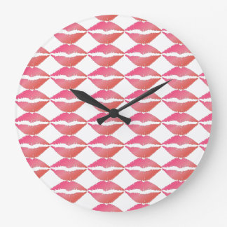 Pink Lips Large Clock