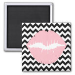 Pink Lips on Black and White Zigzag Square Magnet