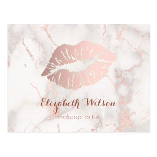 pink lips on marble makeup artist postcard