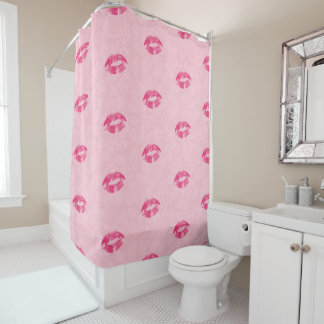 Pink Lips Pattern And Damask Shower Curtain