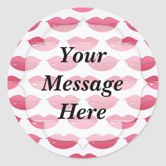Pink Lips Pattern Classic Round Sticker