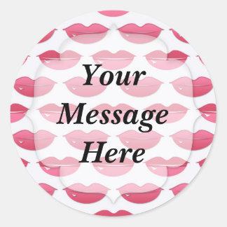 Pink Lips Pattern Round Sticker