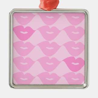 Pink Lips Silver-Colored Square Decoration