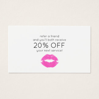 Pink Lipstick Kiss Beauty Customer Referral Business Card