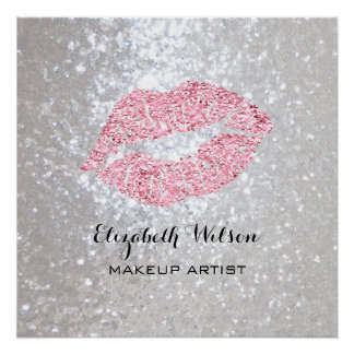 pink lipstick kiss makeup artist personalized poster