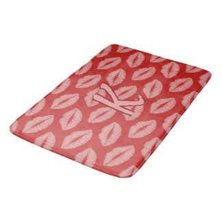 Pink Lipstick Kisses Monogram Red Bath Mat