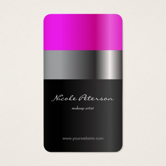 Pink lipstick - makeup artist business card