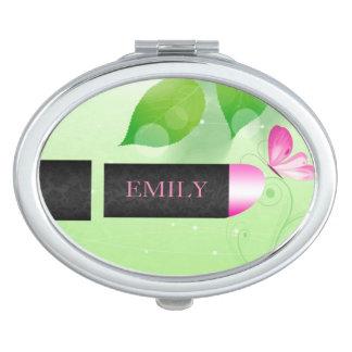 Pink Lipstick Over Light Green Background Travel Mirror