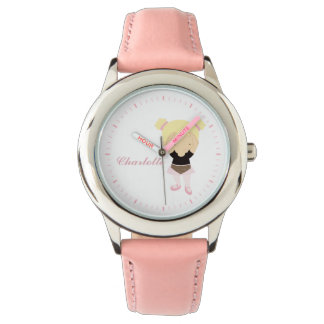 Pink Little Ballet Dancer Personalized {blonde} Watches