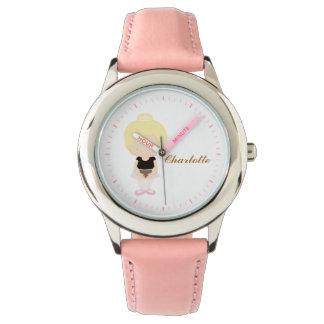 Pink Little Ballet Dancer Personalized {blonde} Wristwatches