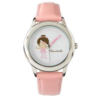Pink Little Ballet Dancer Personalized {brunette} Watch